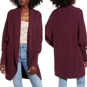 New Leith Burgundy Dolman Sleeve Long Cardigan